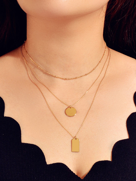 Milanoo Gold Chain Necklaces Layered Pendant Necklace