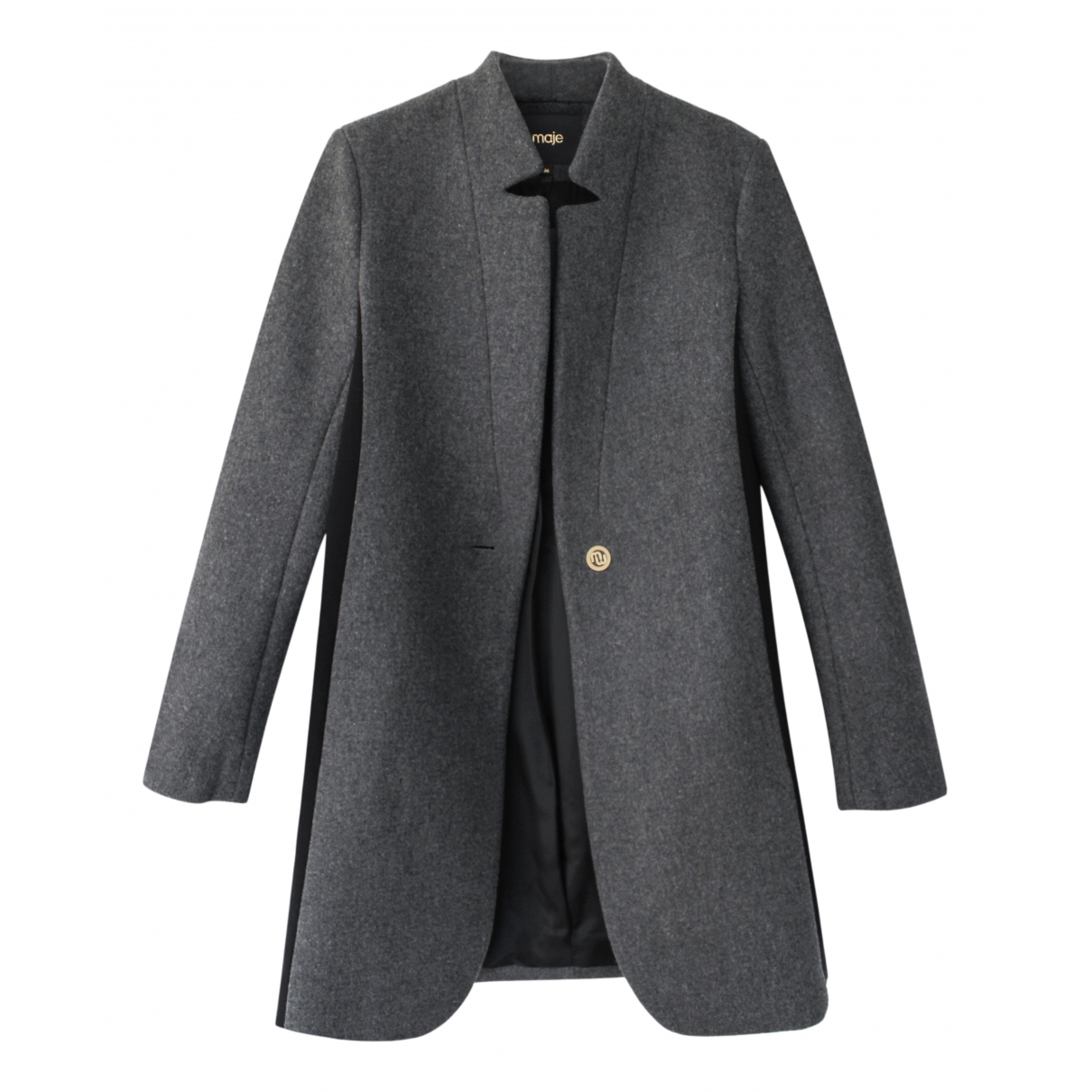 Maje N Anthracite Wool coat for Women 36 FR