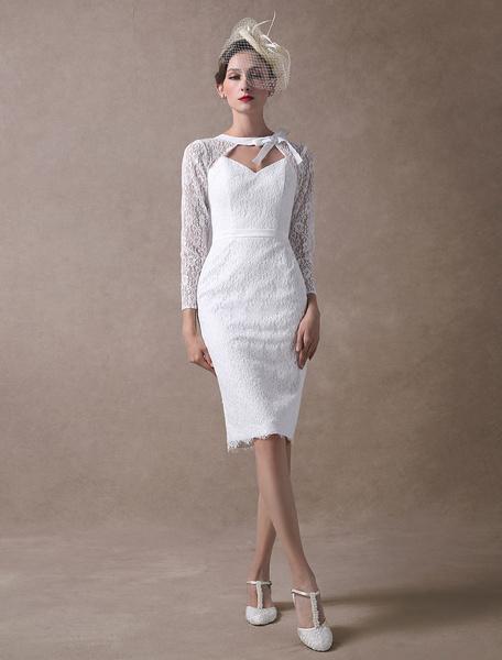 Milanoo Vestido de novia corto ajustado hasta la rodilla con manga larga con escote redondo Cremallera de encaje