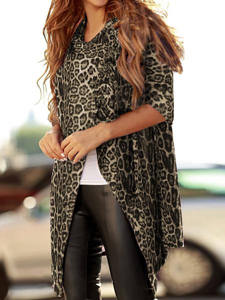 Yoins Celmia Leopard Front Button Long Sleeves Cardigan