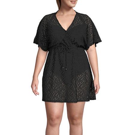 Porto Cruz Dress Swimsuit Cover-Up Plus, 1x , Black