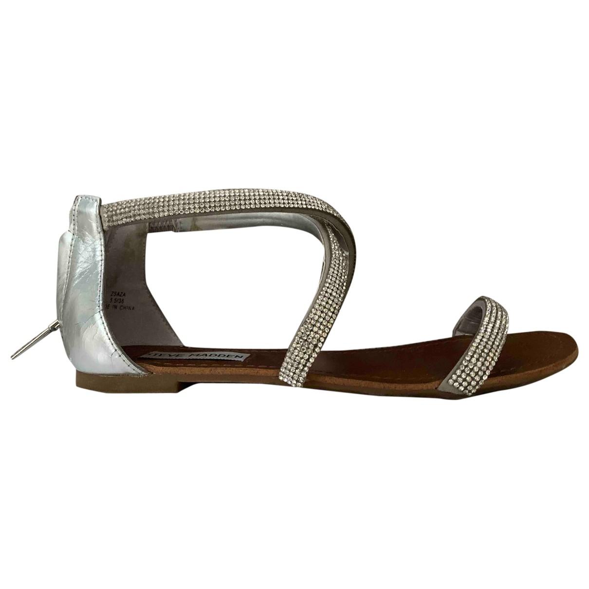 Steve Madden - Sandales   pour femme en cuir - argente