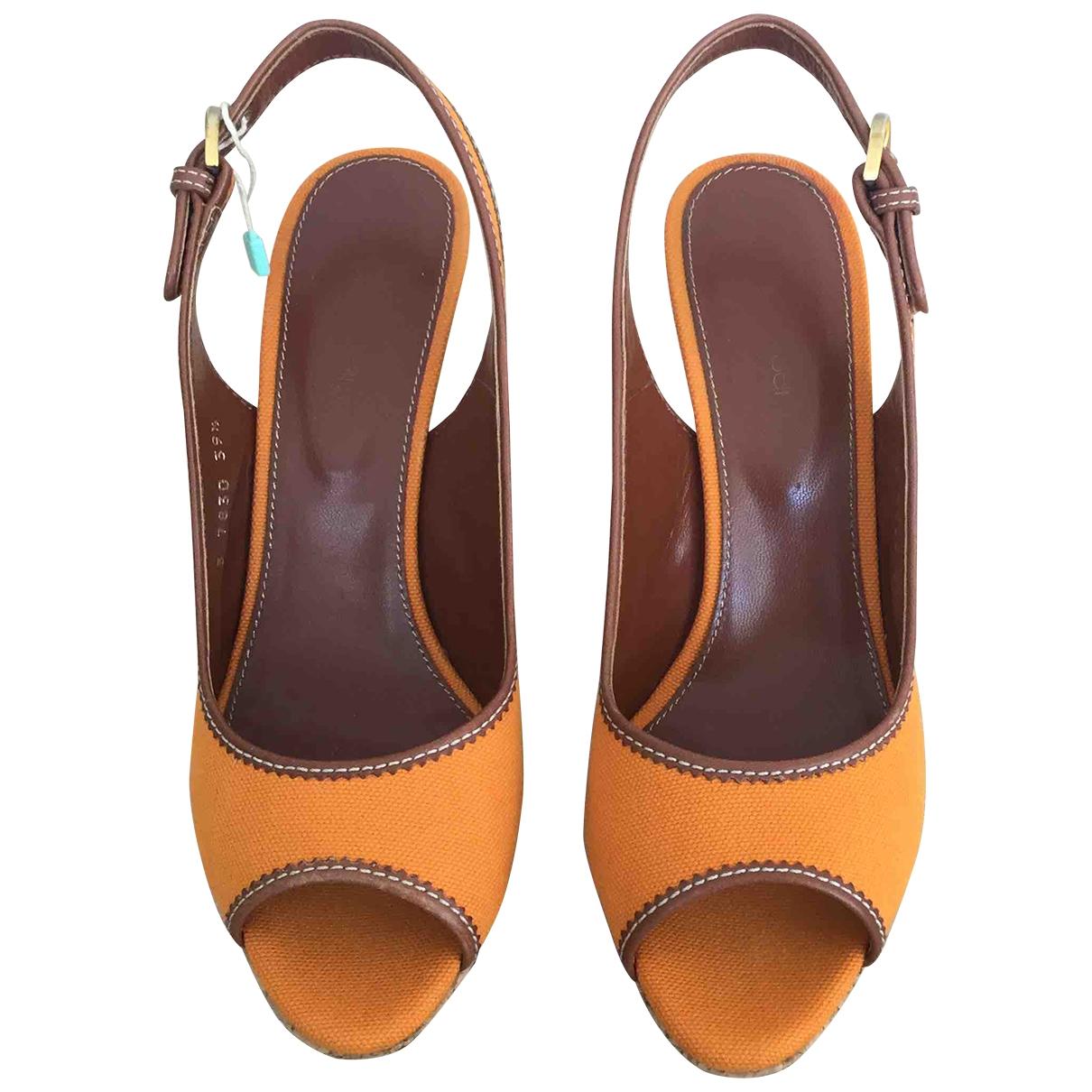 Sergio Rossi - Sandales   pour femme en toile - orange