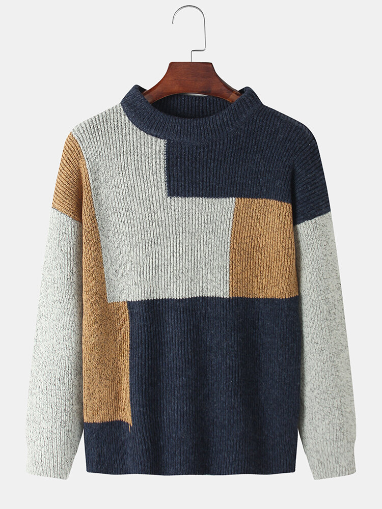Mens Contrast Color Knitted Cotton Round Neck Loose Warm Sweater