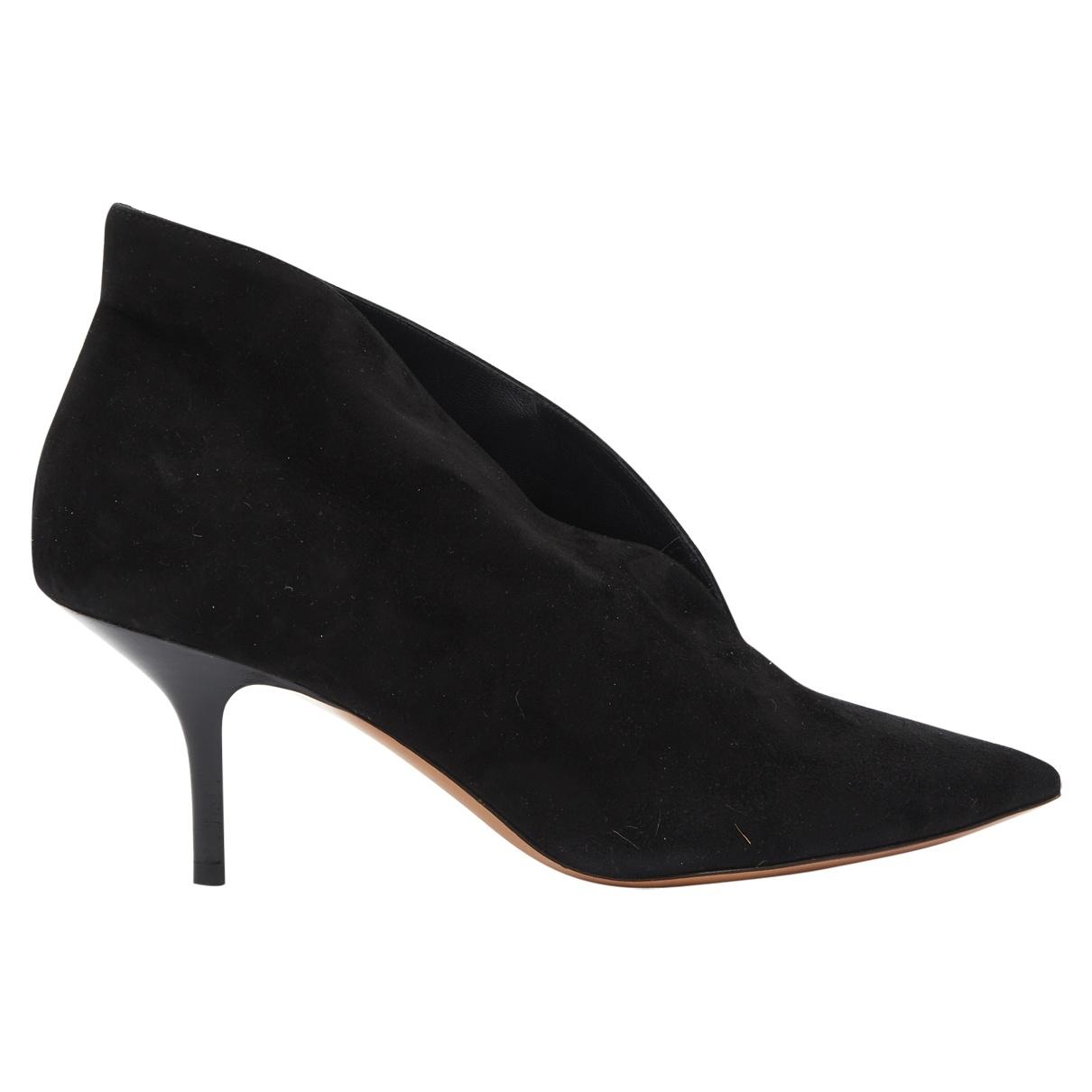 Celine Soft V Neck Black Suede Heels for Women 38 EU