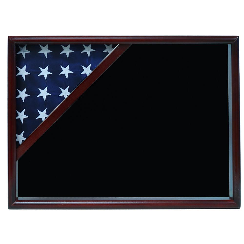 Ceremonial Flag Corner Case, Cherry, Black Velvet background