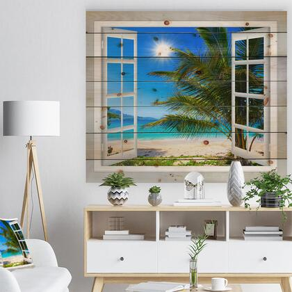 WD11433-46-36 Window Open To Beach With Palm - Seashore Print On Natural Pine Wood -