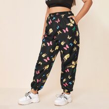 Plus Allover Butterfly Print Wind Pants