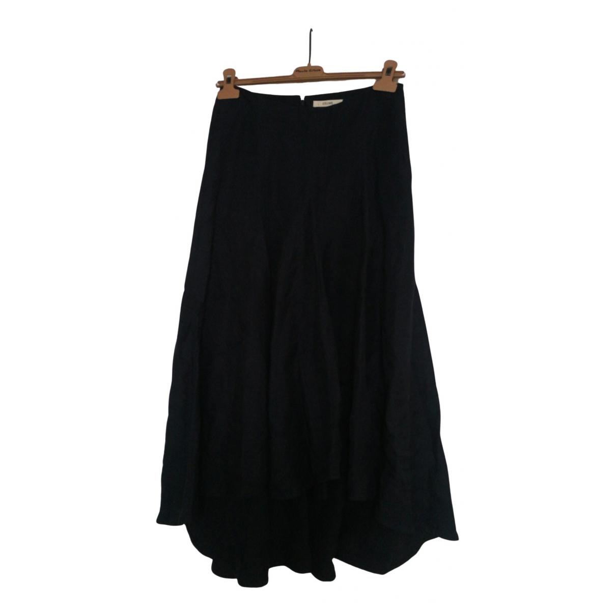 Celine \N Blue Linen skirt for Women 38 FR