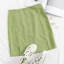 Faldas Extra Grande Cremallera A cuadros Preppy