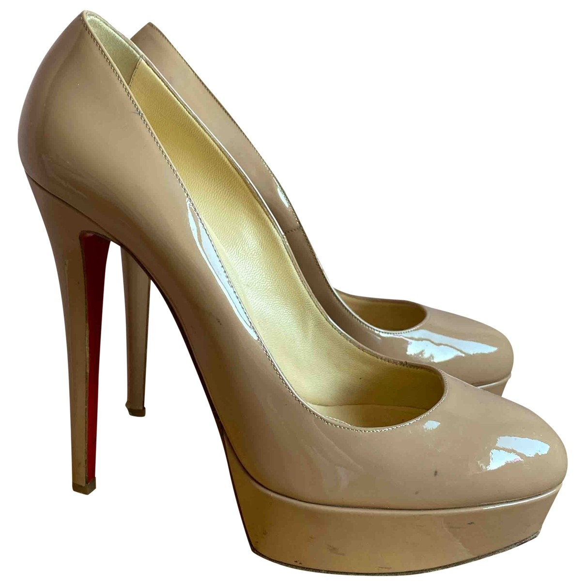 Christian Louboutin Bianca Beige Patent leather Heels for Women 40 IT
