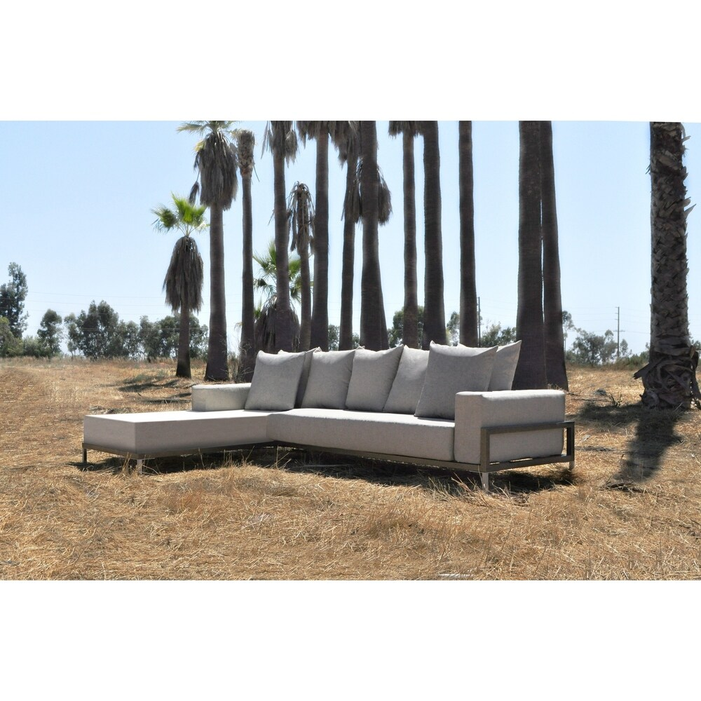 SOLIS Nubis Sectional Outdoor Deep Seated 2-piece Patio Set - Textured Gold Vein Frame, Pebble Cream Cushions