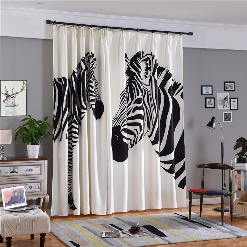 Decorative Two Zebras Digital Printing Polyester Cotton Concise Style 2 Panels 3D Curtain