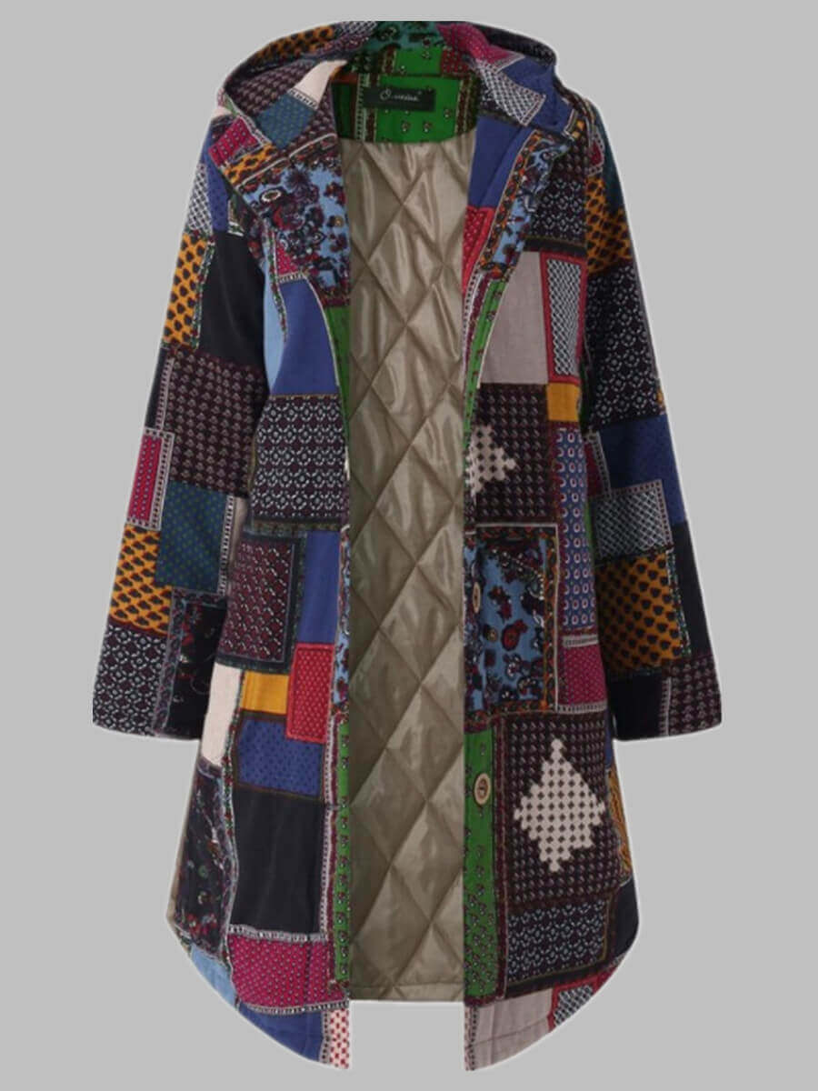 LW Lovely Trendy Hooded Collar Print Green Coat