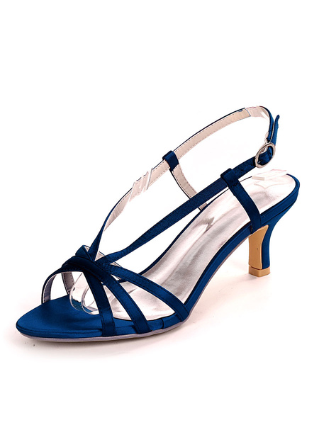 Milanoo Blue Wedding Shoes Satin Open Toe Kitten Heel Bridal Shoes Mother Of The Bride Shoes