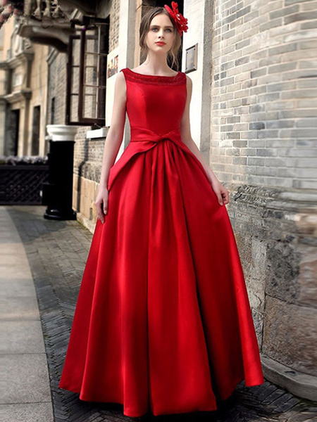 Milanoo Red Party Dress Maxi Dress Women Bow Tie Cut Out Back Vintage Evening Dress