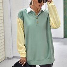 Drop Shoulder Colorblock Half Button Placket Pullover