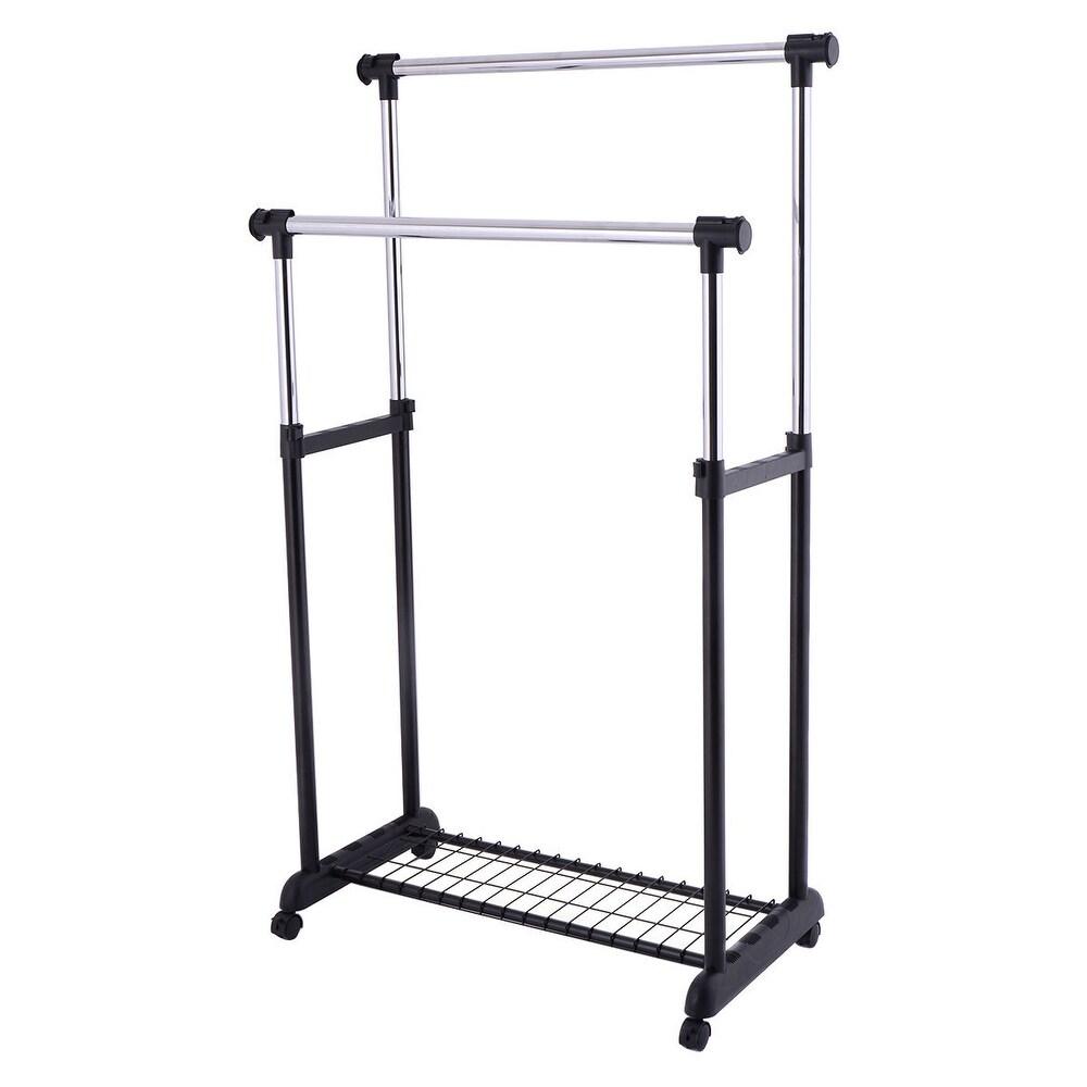 Double Adjustable Cloth Hanger Garment Rack (No - Plastic - Hanging Organizer)