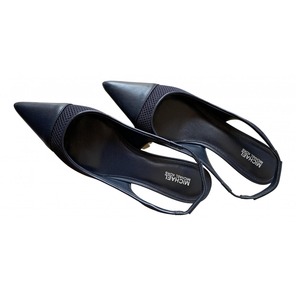 Michael Kors N Blue Leather Heels for Women 38 IT