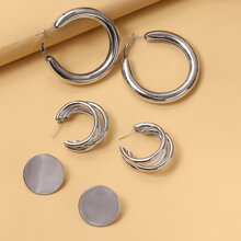 3pairs Round Design Earrings