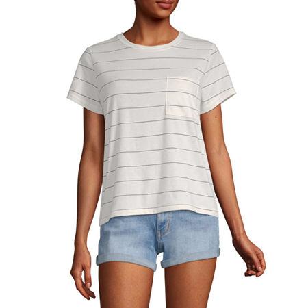 Arizona Juniors-Womens Crew Neck Short Sleeve T-Shirt, Xx-large , White