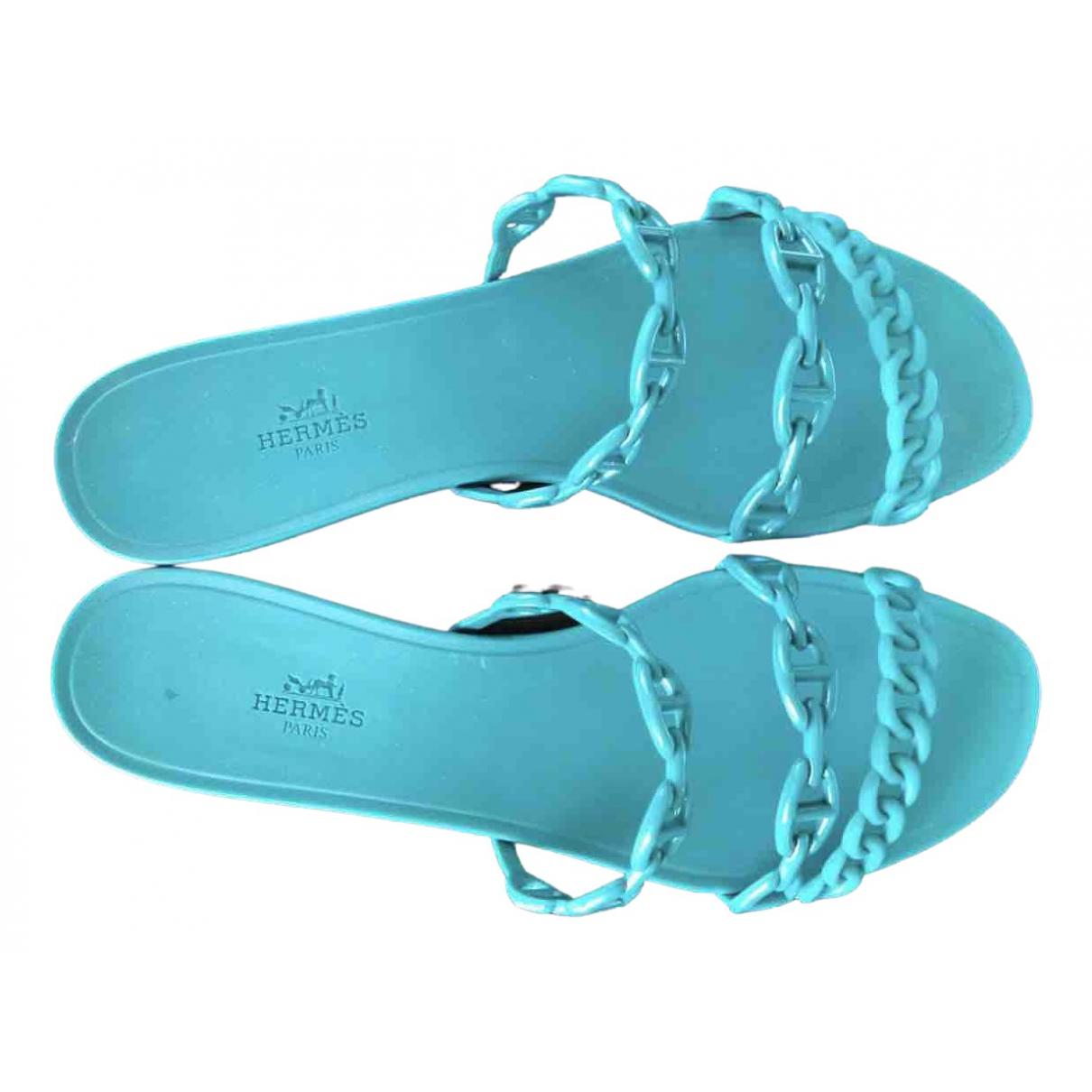 Hermès Nude Turquoise Rubber Sandals for Women 41 EU