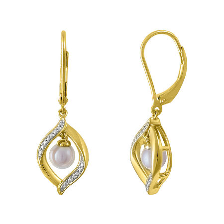Cultured Freshwater Pearl 14K Yellow Gold Over Sterling Silver Earrings, One Size , No Color Family