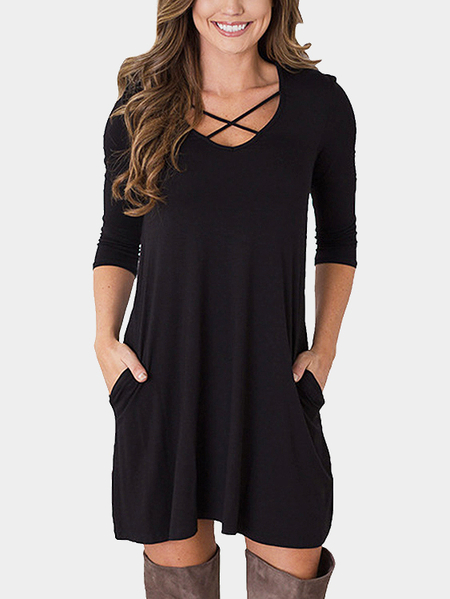 Yoins Black 1/2 Length Sleeves Causal Dress With Pockets