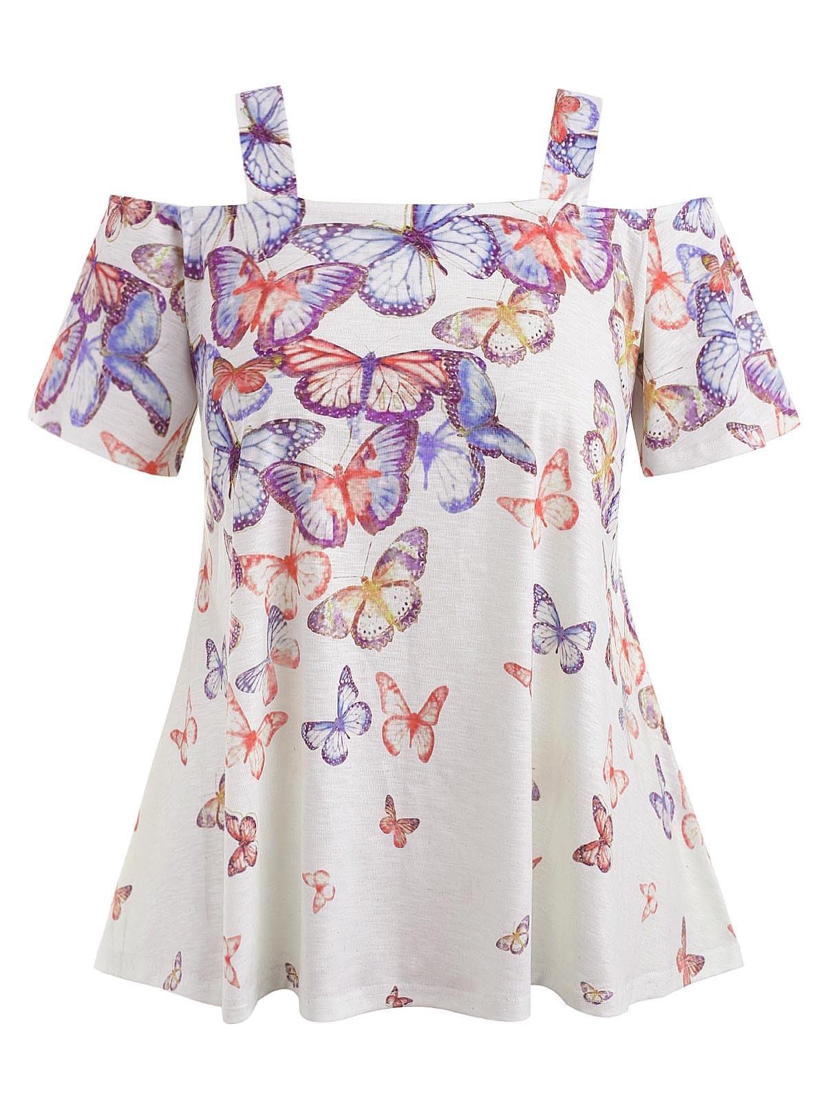 Cold Shoulder Plus Size Butterflies T-shirt