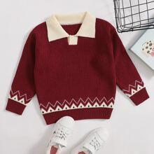 Toddler Girls Chevron Pattern Sweater