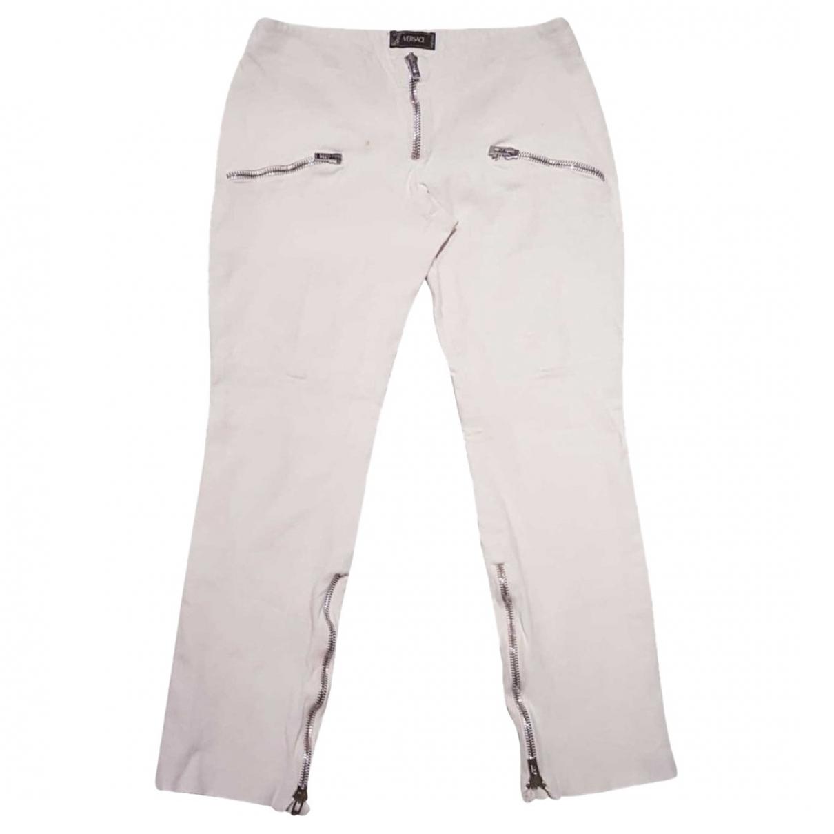 Pantalon en Algodon Blanco Versace