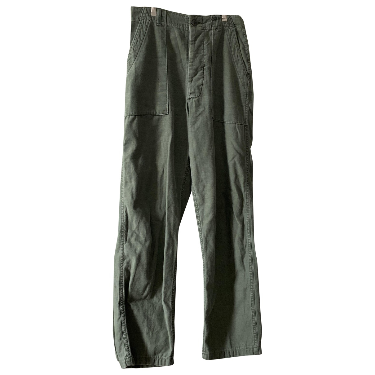 Non Signé / Unsigned N Green Cotton Trousers for Women M International