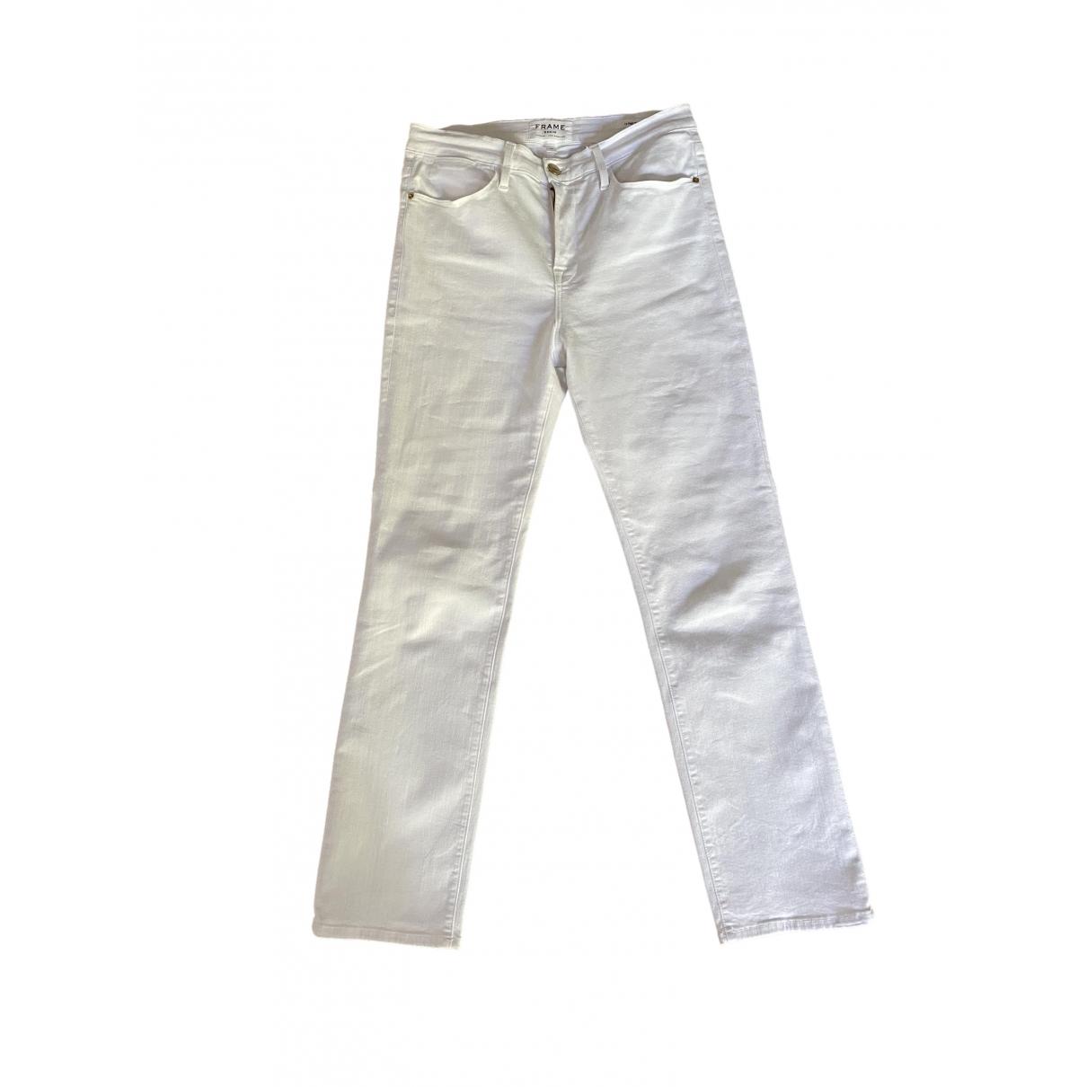 Frame Denim \N White Cotton Trousers for Women 40 FR
