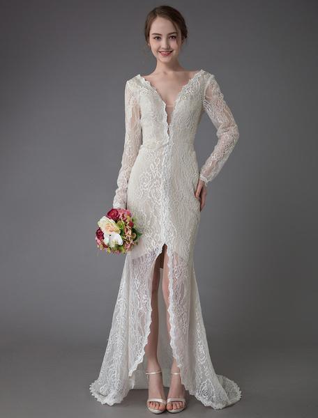 Milanoo Boho Wedding Dresses Lace V Neck Long Sleeve Sheath Beach Bridal Dress With Train