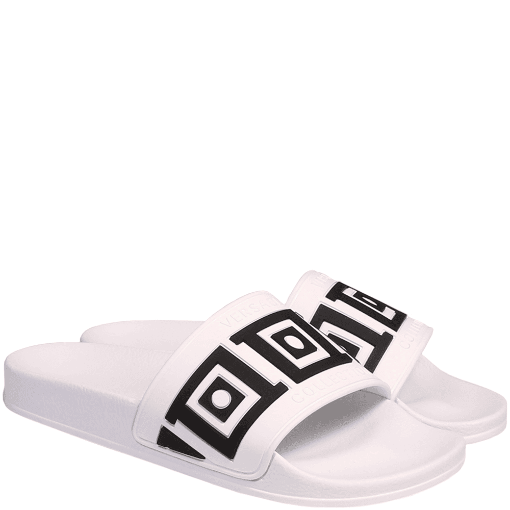 Versace Collection Greek Key Pool Sliders Colour: WHITE, Size: 7