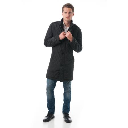 Fashion Mens' Black Polyester Quilted Car Coat