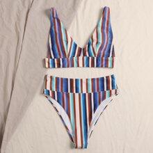 Bañador bikini de cintura alta de rayas de colores