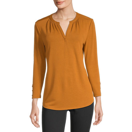Liz Claiborne-Womens V Neck 3/4 Sleeve T-Shirt, Medium , Yellow