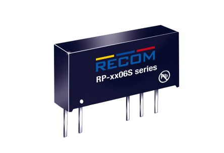 Recom RP-XX06S 1W Isolated DC-DC Converter Through Hole, Voltage in 13.5 → 16.5 V dc, Voltage out 6V dc Medical