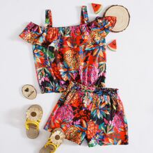 Toddler Girls Pineapple Print Cold Shoulder Top With Shorts