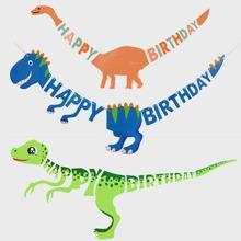 1pc Dinosaur Decor Birthday Pull Flag