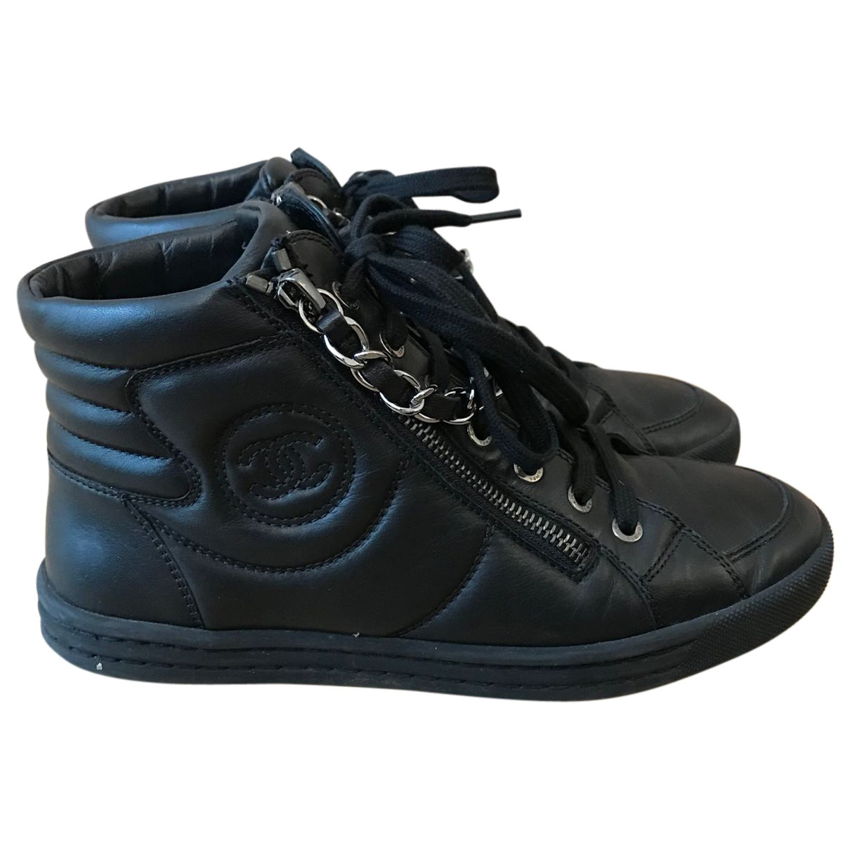 Chanel N Black Leather Trainers for Women 37 EU