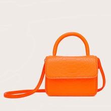 Mini Neon Snakeskin Embossed Satchel Bag