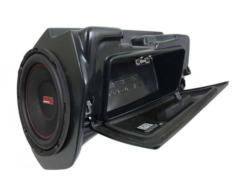 SSV Works WP-RZ4GBS10-W 10 Inch Amplified Weather Proof Glove Box SubWoofer Polaris RZR 1000