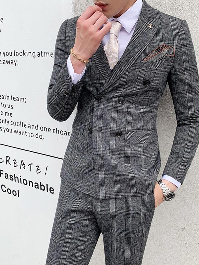 Ericdress Plaid Vest Print Men's Dress Suit