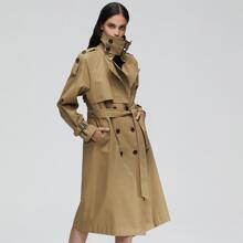 Jazzevar Double Button Belted Trench Coat