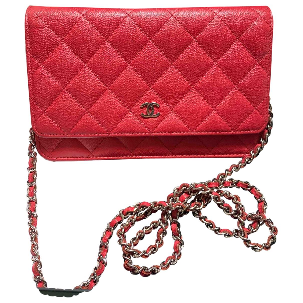 Chanel - Sac a main Wallet on Chain pour femme en cuir - rouge