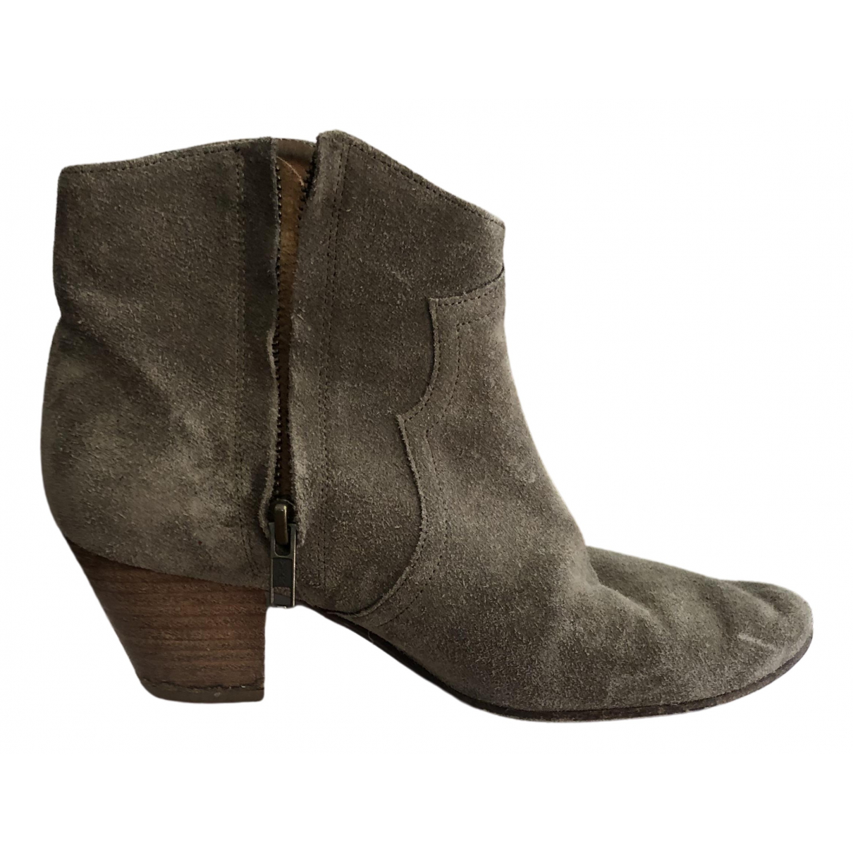 Isabel Marant Dicker Grey Suede Ankle boots for Women 37 EU