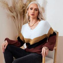 Jersey de manga farol de color combinado