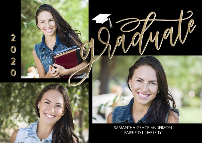 2020 Graduation Announcements 5x7 Cards, Premium Cardstock 120lb with Elegant Corners, Card & Stationery -2020 Graduate Simple Script by Tumbalina